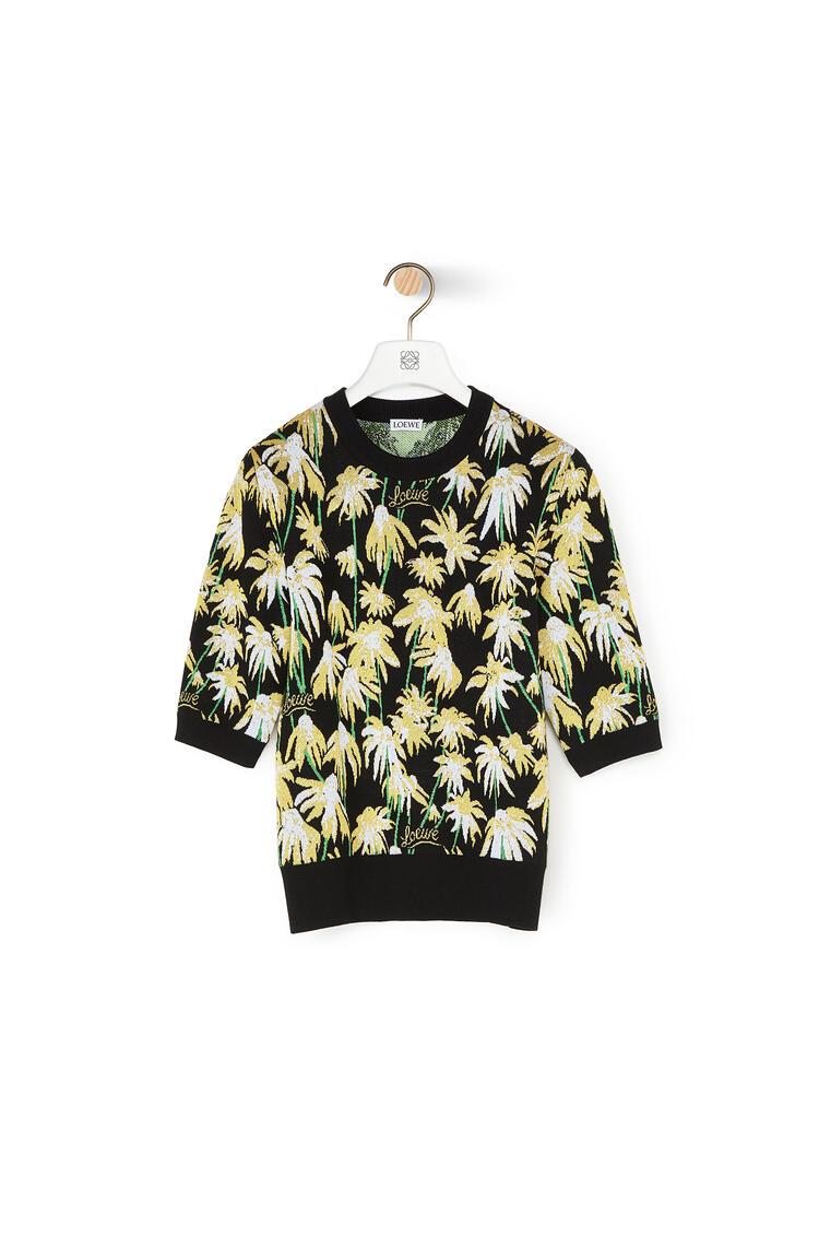LOEWE Cropped Sweater In Jacquard Viscose Black/Yellow pdp_rd