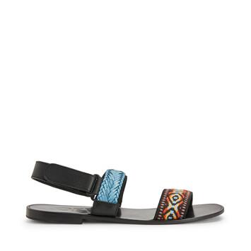 LOEWE Paula Flat Sandal Braid Blue Multitone front