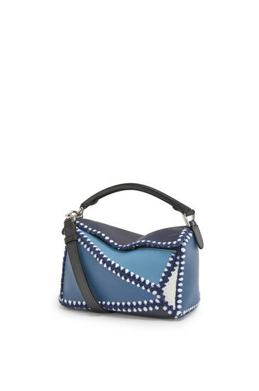 LOEWE Small Puzzle Bag In Knit And Calfskin Midnight Blue/Varsity Blue pdp_rd