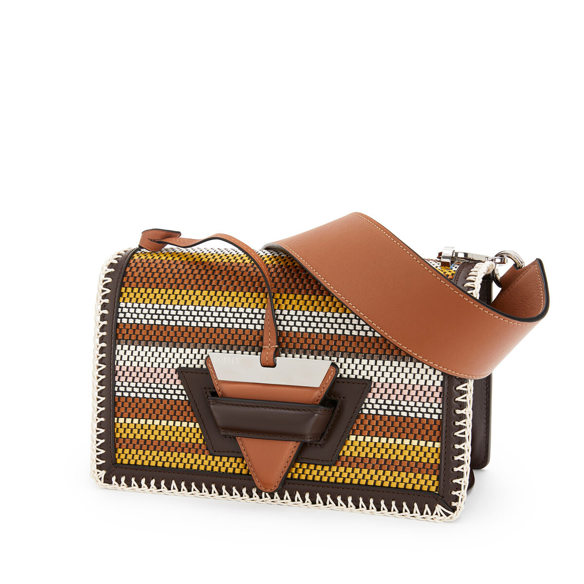 LOEWE Barcelona Woven Stripes Bag Chocolate Brown/Multicolor front
