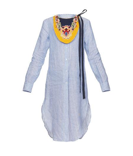 LOEWE Long Tunic Shirt W/ Emb Bib white/blue all