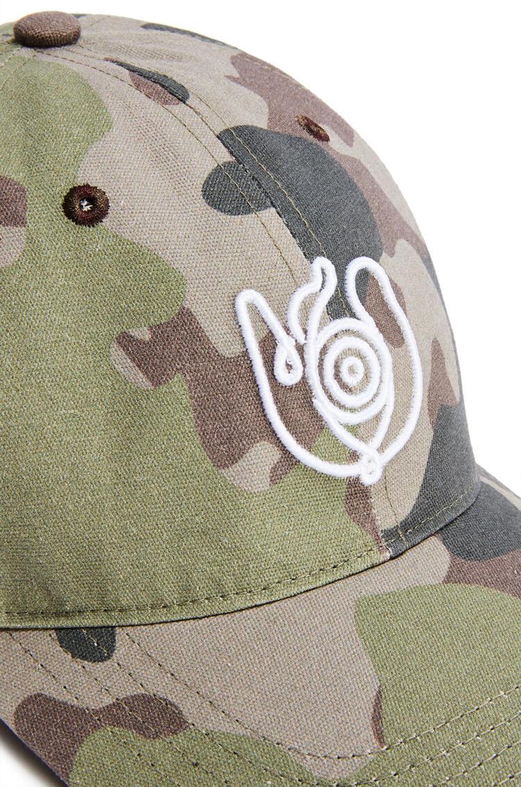 LOEWE Cap in textile print Khaki Green pdp_rd