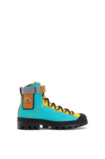 LOEWE Hiking Boot In Canvas And Calfskin Turquoise/Tan pdp_rd