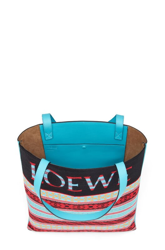 LOEWE Vertical Tote Knit Bag Multicolor front