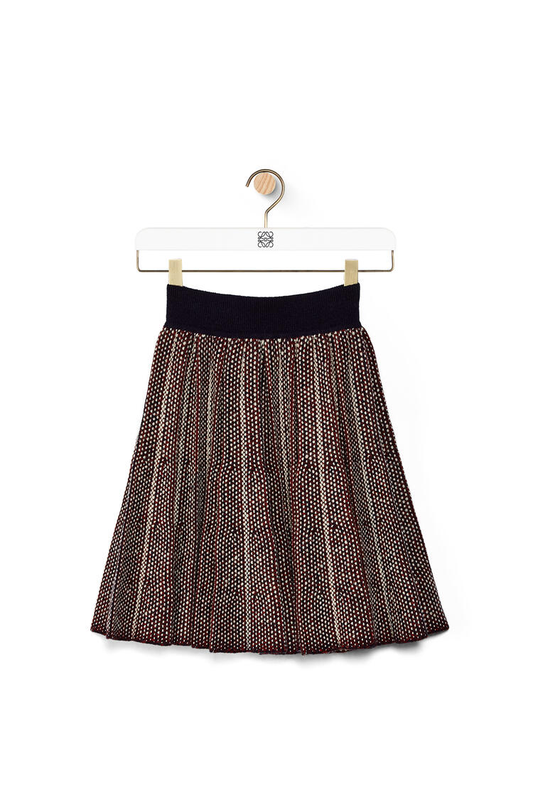 LOEWE Minifalda plisada de punto de lana Burdeos/Marino pdp_rd