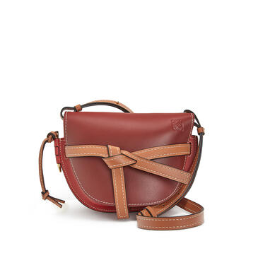 LOEWE Small Gate bag in soft calfskin Garnet/Pomodoro pdp_rd