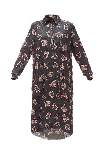 LOEWE Paula Print Long Shirtdress Negro/Rosa front