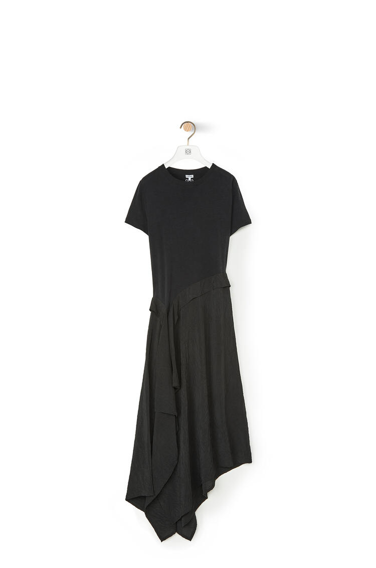 LOEWE T-shirt Dress In Cotton Jersey And Satin Black pdp_rd