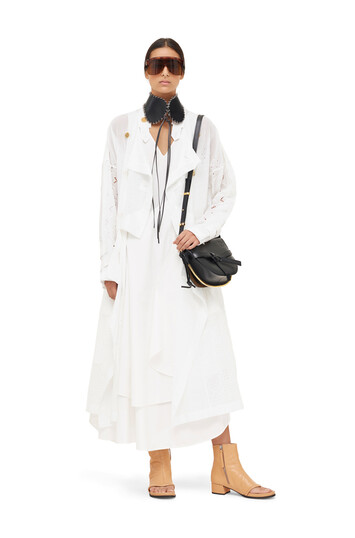 LOEWE Coat Broderie Anglaise White front