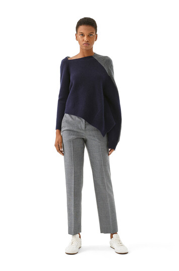 "LOEWE Asymmetric Knit Sweater ネイビーブルー/グレイ""; front"