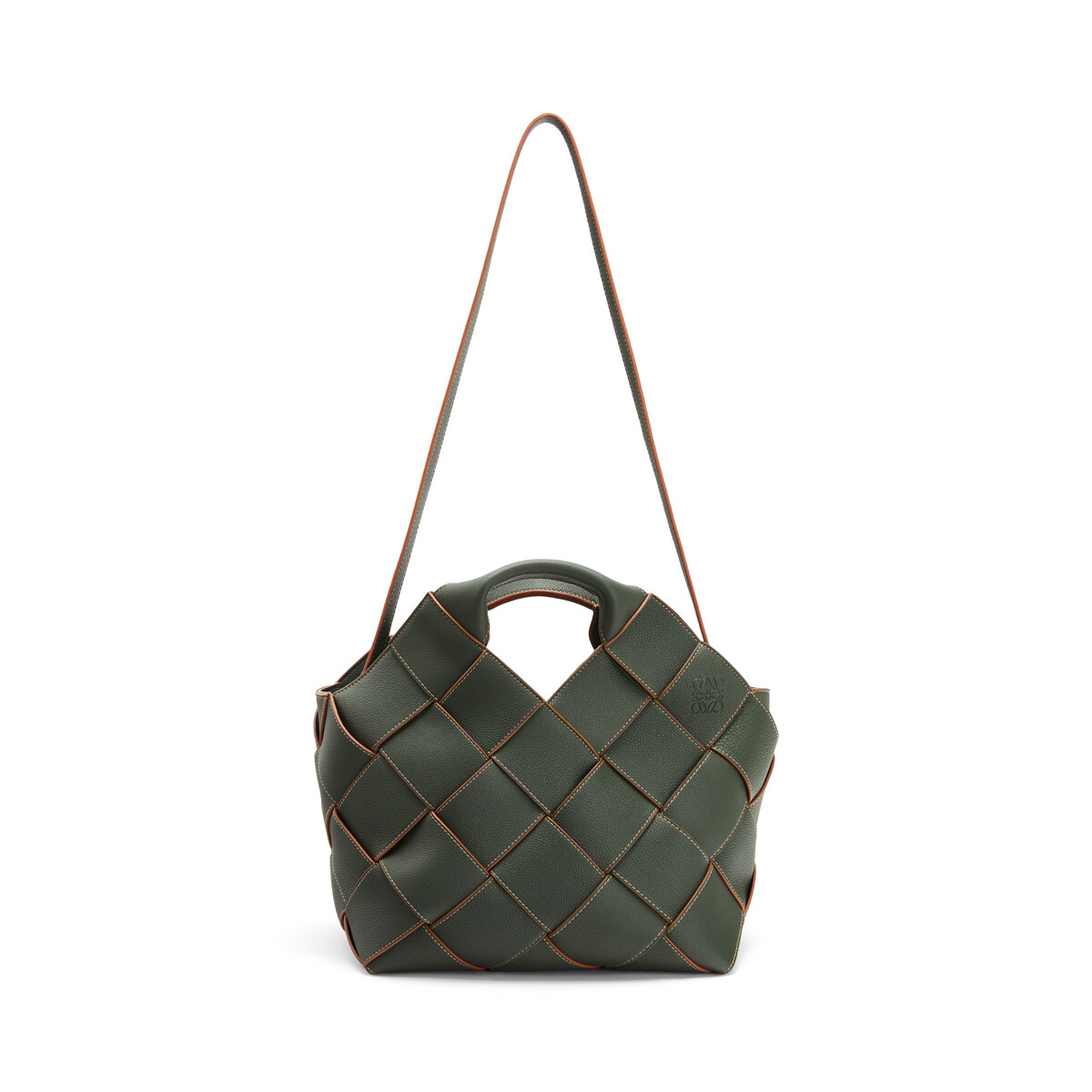 LOEWE Woven Basket Bag Vintage Khaki front