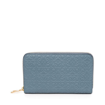 LOEWE Medium Zip Around Wallet Stone Blue front