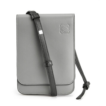 LOEWE Bolso Gusset Crossbody Plano Gris Metalico front