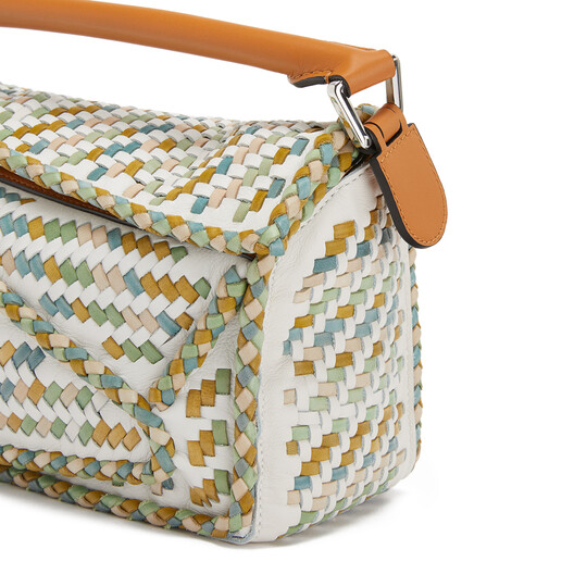 LOEWE Puzzle Woven Small Bag Honey/Multicolor front