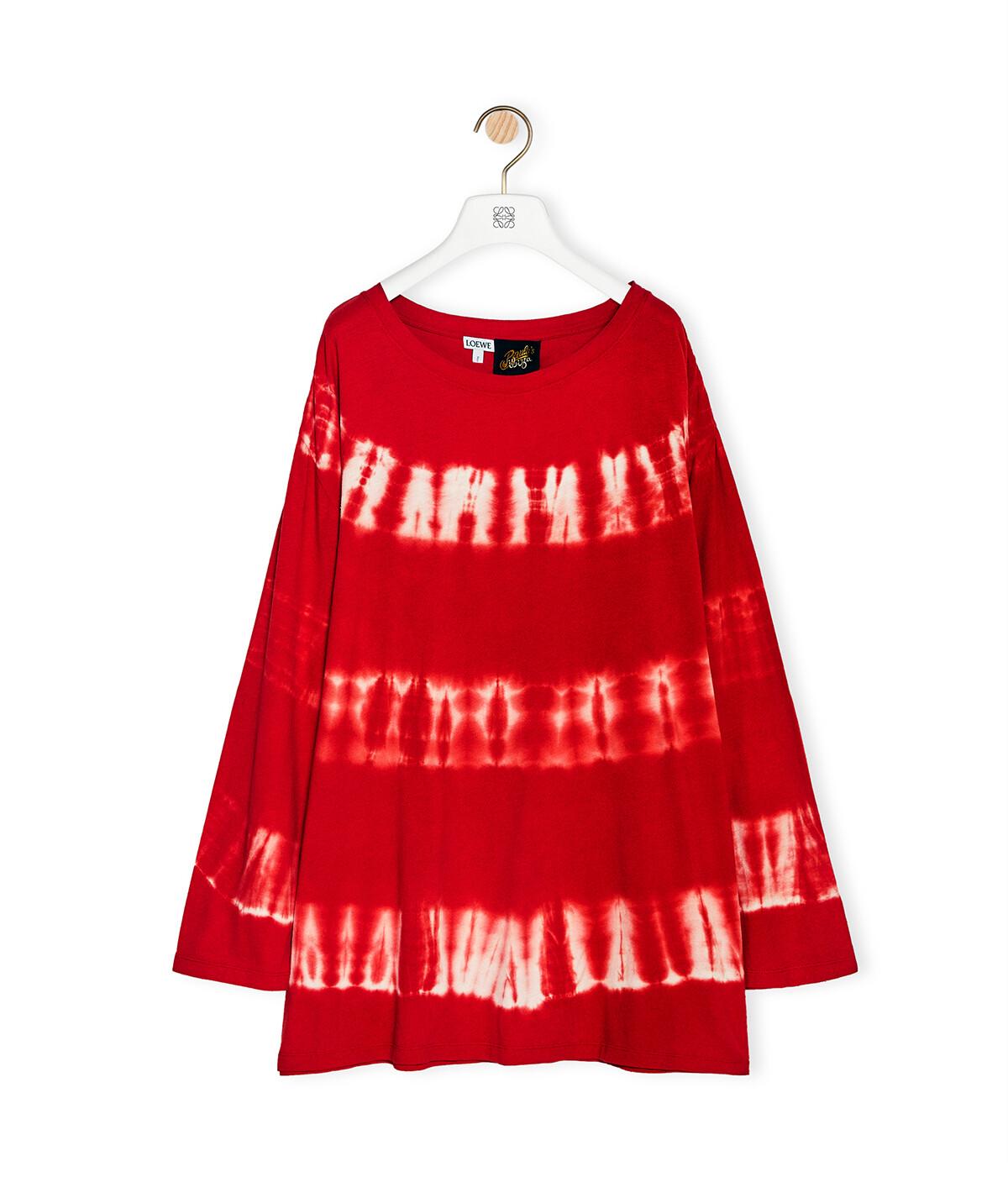LOEWE Camisa De Algodón Y Seda Tie Dye Rojo/Blanco front