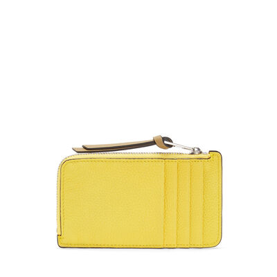 LOEWE Coin/Card Holder Large Leaf/Yellow front