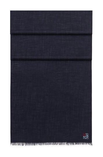 LOEWE 70X200 アナグラム スカーフ ネイビーブルー front