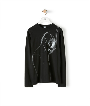 LOEWE Portrait Long Slv T-Shirt Black front