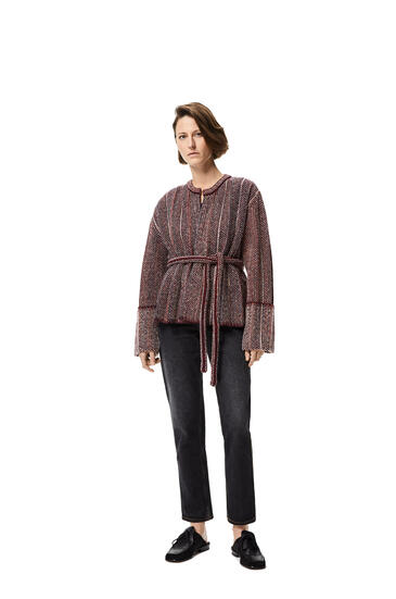 LOEWE 羊毛褶皱针织外套 Burgundy/Navy pdp_rd