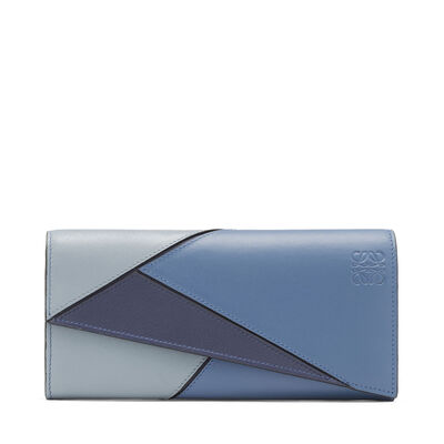 LOEWE Puzzle Continental Wallet Varsity Blue Multitone front