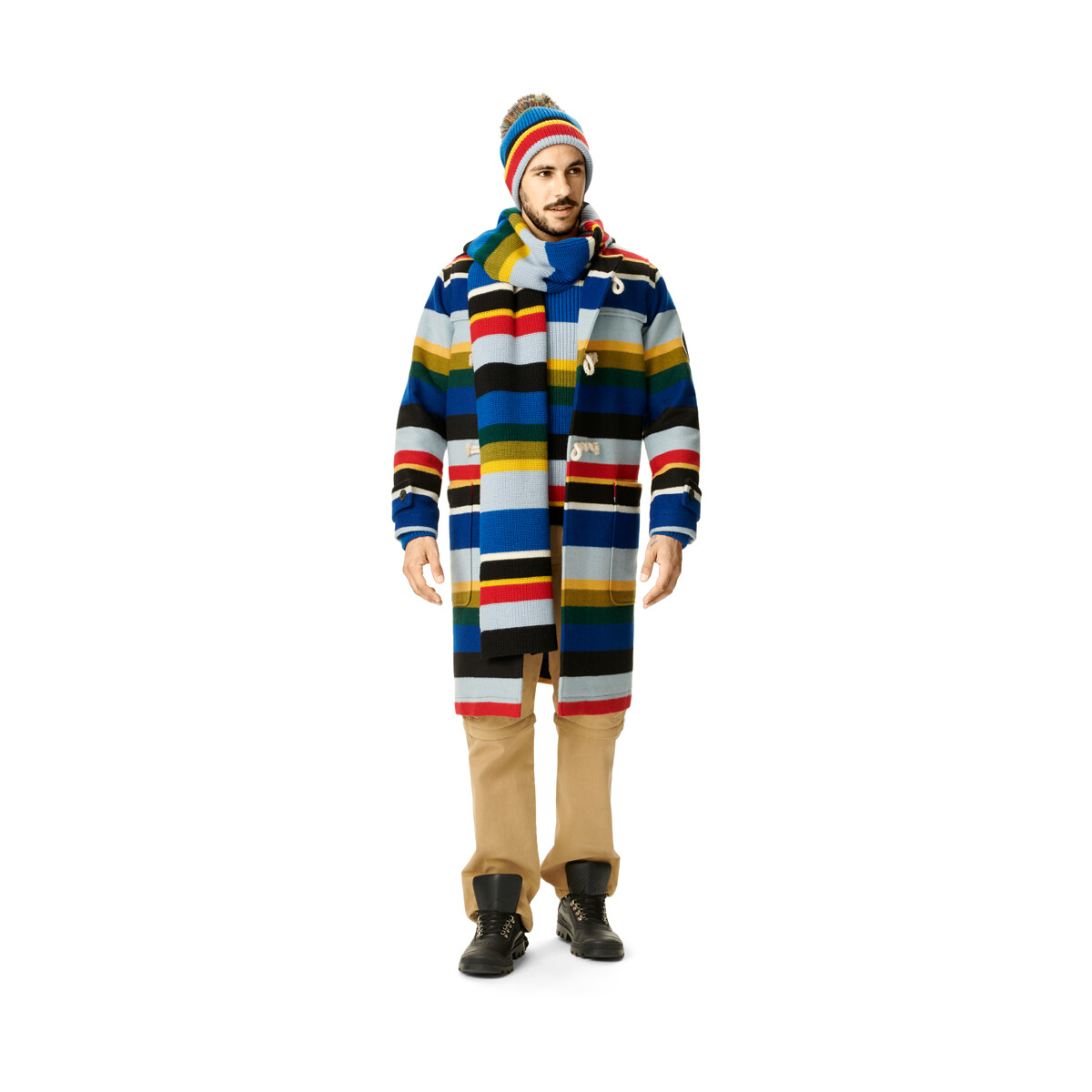 LOEWE Eln Stripe Knit Beanie Multicolor front