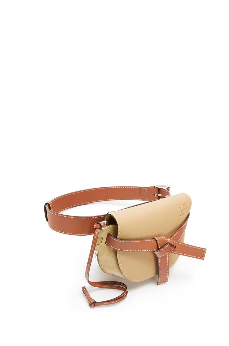 LOEWE Large Gate bumbag in suede and calfkin Gold pdp_rd