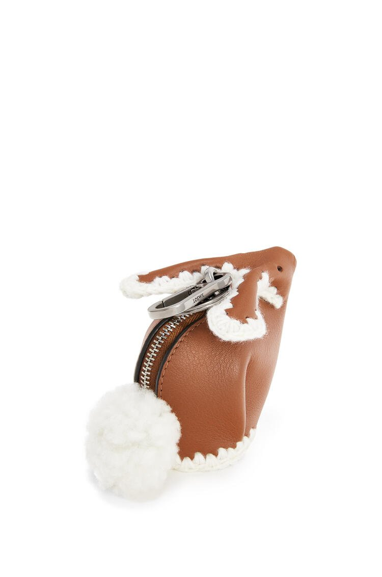 LOEWE Bunny Charm In Knit And Calfskin Tan pdp_rd