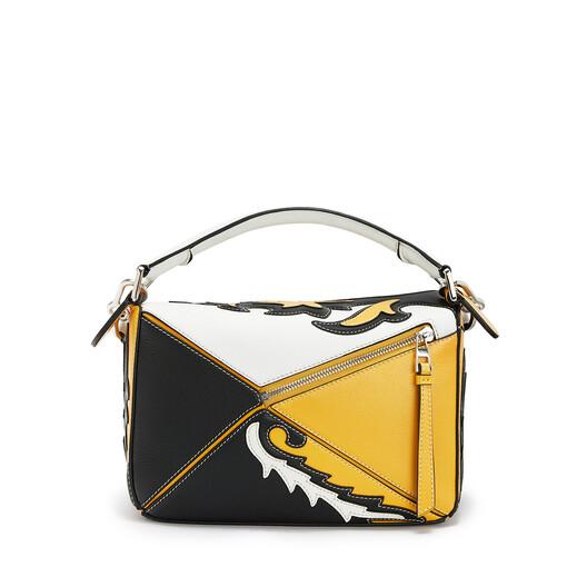 LOEWE Puzzle Cowboy Small Bag Black/Yellow Mango front