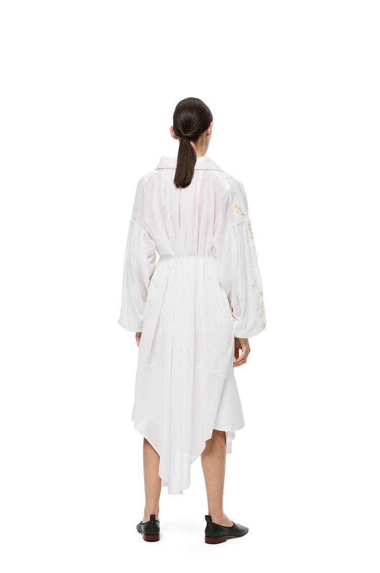 LOEWE ミディ シャツドレス(フラワー プリント コットン) ホワイト pdp_rd