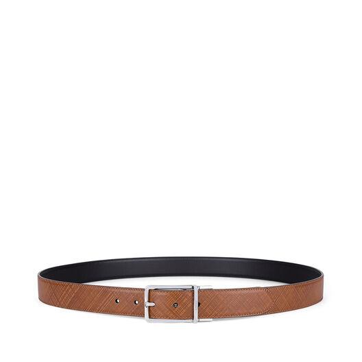 LOEWE Cinturon  Formal 3.2Cm Adj/Rev Marron Oscuro/Negro/Paladio front
