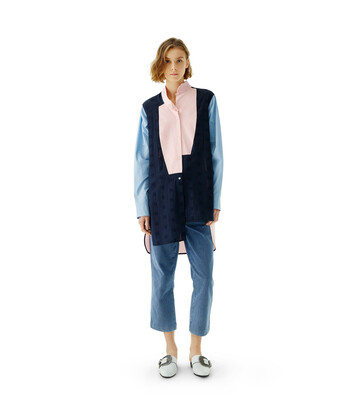 LOEWE Long Asym Shirt Broderie Azul/Rosa front