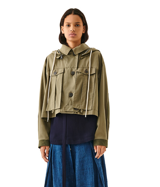 LOEWE Hooded Jacket Military Green front