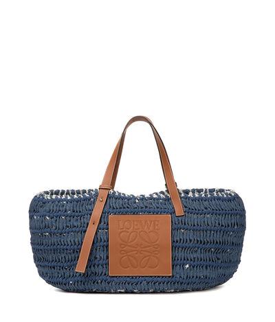 LOEWE Woven Tote Bag Blue Denim/Tan front