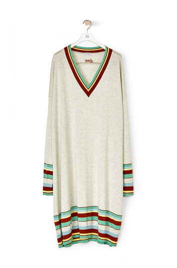 LOEWE Stripe V Neck Sweater Dress - マルチカラー front
