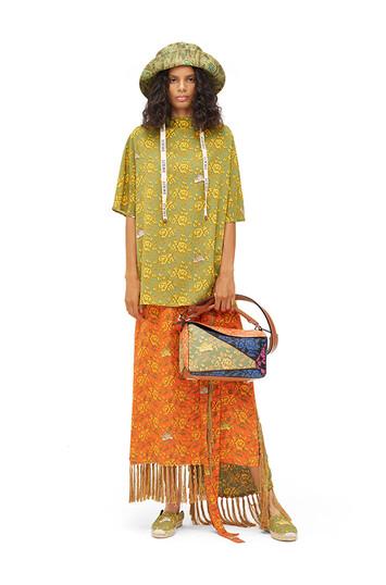 LOEWE Paula Print Wrap Skirt Fringes Multicolor front