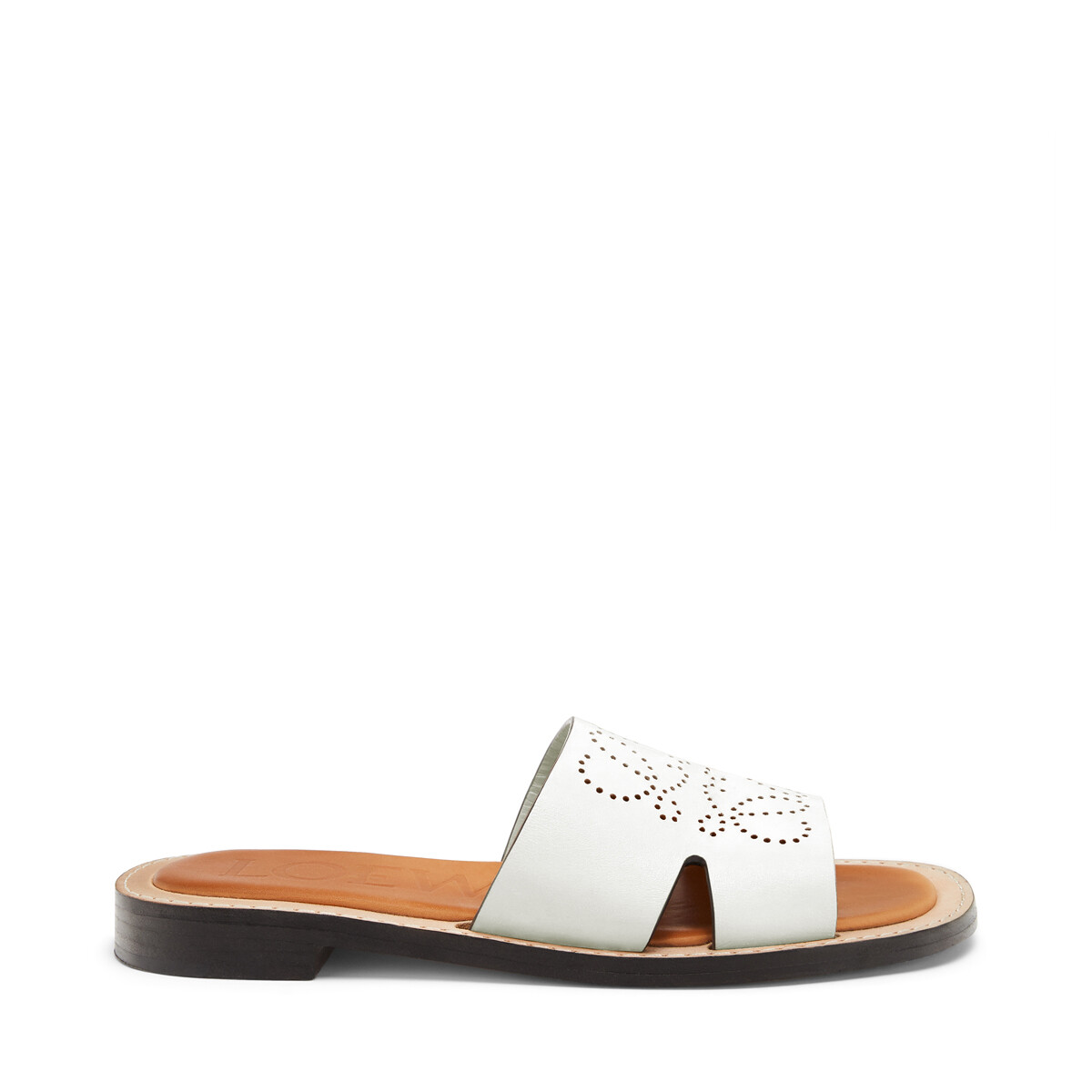 LOEWE Perforated Anagram Mule White front
