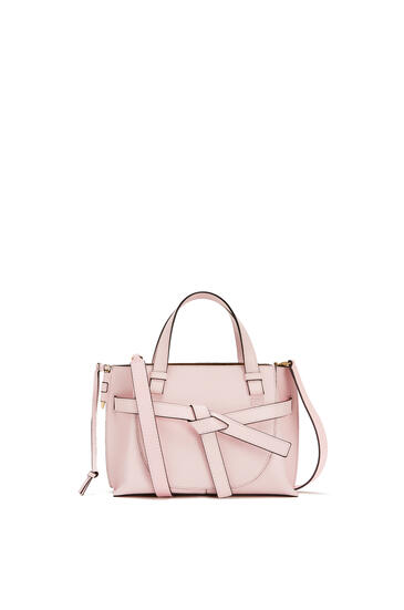 LOEWE Mini Gate Top Handle bag in soft grained calfskin Icy Pink pdp_rd
