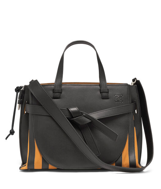 LOEWE Gate Top Handle Grid Bag Black/Light Caramel front