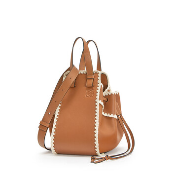 LOEWE Hammock Drawstring Crochet Small Bag Tan front