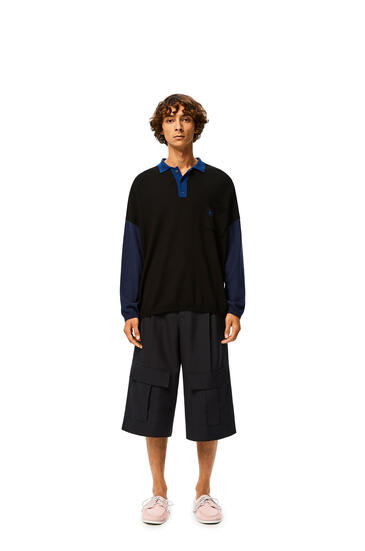 LOEWE Oversize polo collar sweater in cashmere Black/Blue pdp_rd