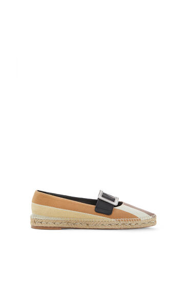 LOEWE Pointy buckle espadrille in cotton and calfskin Brown/Ecru/Yellow pdp_rd