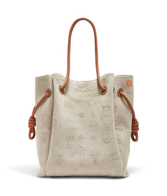 LOEWE Flamenco Knot Tote Logos Bag Natural/Tan front