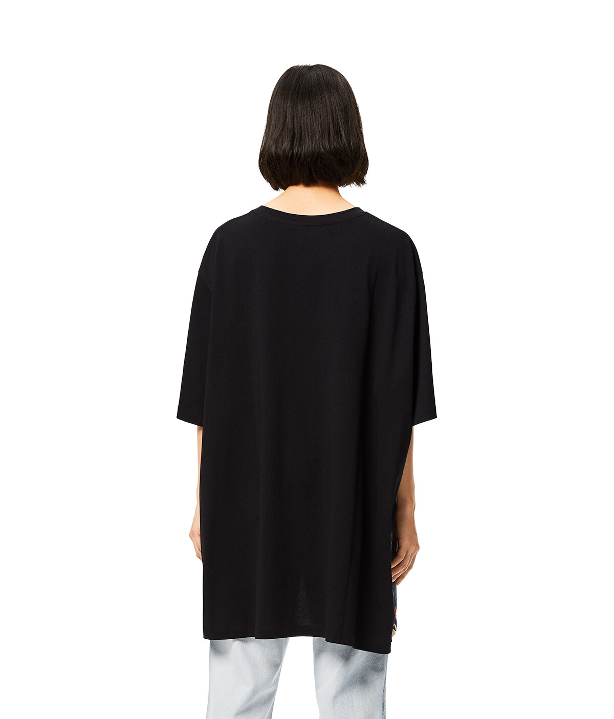 LOEWE Oversize T-Shirt In Mermaid Cotton And Silk Black/Blue front
