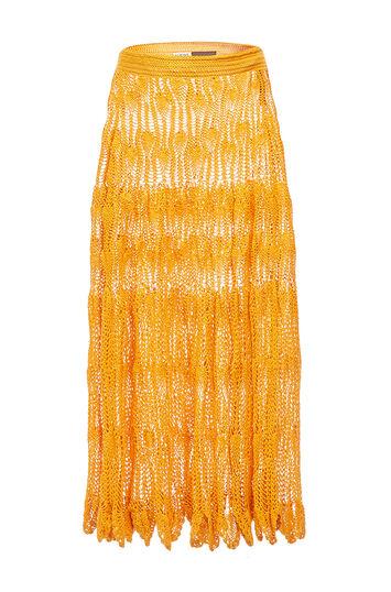 LOEWE Paula Crochet Skirt Orange front