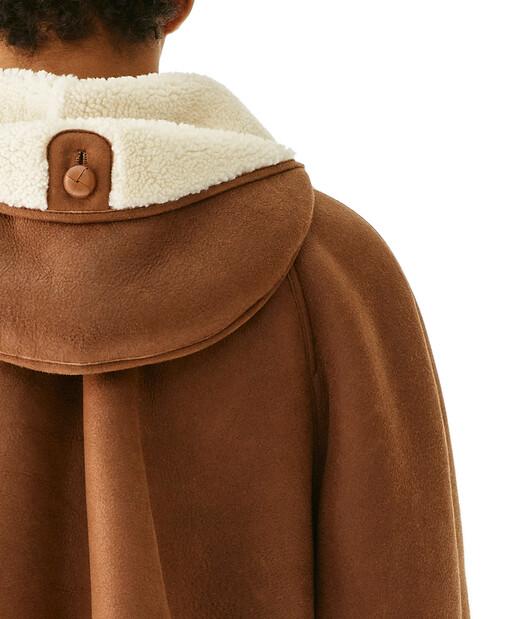 LOEWE Shearling Jacket 黑棕色 front