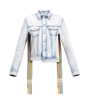 LOEWE Denim Jacket Knit Stripe Bands Light Blue front