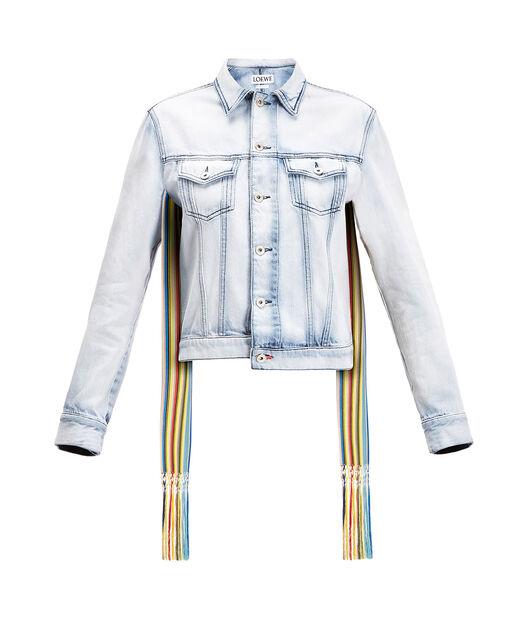 LOEWE Denim Jacket Knit Stripe Bands Light Blue front