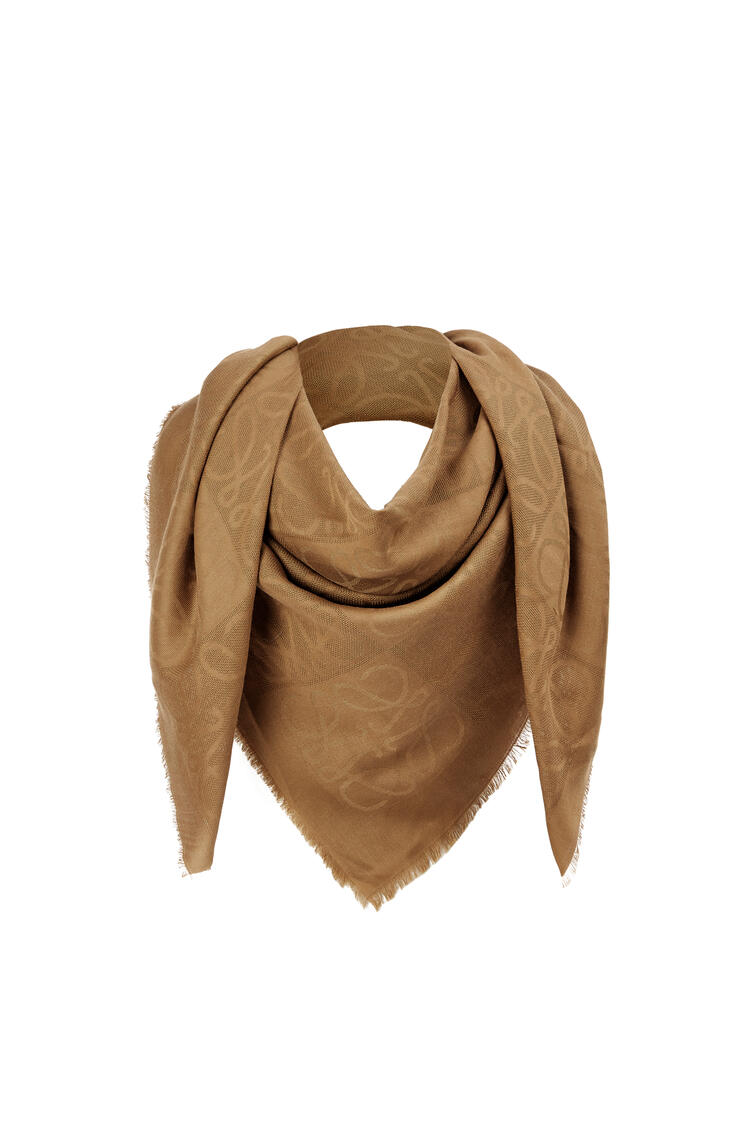 LOEWE Damero scarf in wool, silk and cashmere Camel pdp_rd