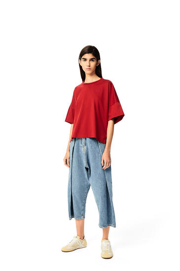 LOEWE Anagram embroidered cropped t-shirt in cotton Red pdp_rd