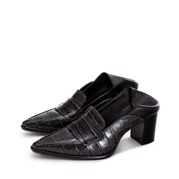 LOEWE Pointy Loafer 70 Black/Black front